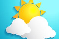 精美云朵后的太阳矢量图