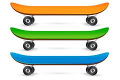 3款彩色滑板矢量素材