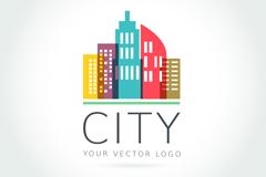 彩色大厦城市标志矢量图