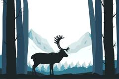 森林中的驯鹿剪影矢量图