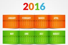 2016年彩色年历矢量图