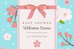 粉色樱花迎婴派对海报矢量图