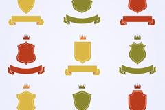 9款彩色皇冠盾牌和丝带矢量图