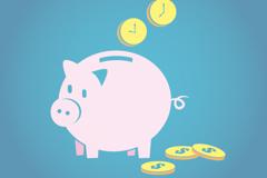 粉色猪储蓄罐矢量素材