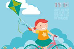 骑单车放风筝的女孩矢量图