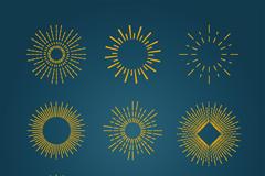 9款金色圆形图标矢量素材