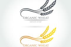 2款弯曲麦穗标志矢量素材