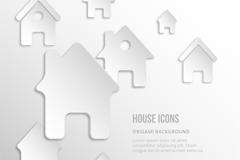 创意白色房屋图标矢量图