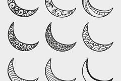 9款手绘花纹月亮矢量图