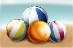 4个彩色沙滩球矢量素材