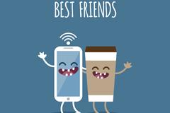 大笑的手机和咖啡矢量图