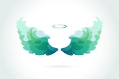 绿色天使光环和翅膀矢量图