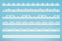 9款白色花纹边条矢量素材