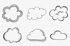 9款手绘云朵设计矢量图