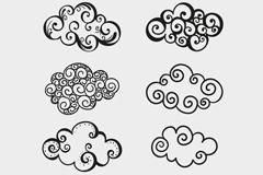 8款手绘云朵云纹矢量素材