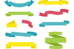 12款彩色丝带条幅矢量图
