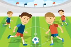 卡通足球赛插画矢量素材