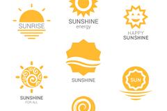 7款黄色太阳标志矢量素材