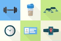 9款健身用品图标矢量图