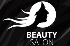 长发女子美容院标志矢量素材