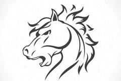 黑色马头标志矢量素材