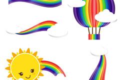 4款精美彩虹剪贴画矢量图