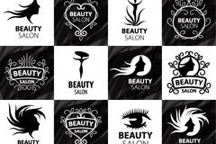 16款时尚美容院标志矢量图