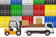彩色集装箱和运输车辆矢量图