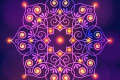 明亮紫色印度花纹矢量素材