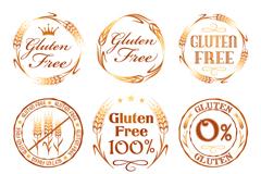 9款金色无麸质食品标志矢量图