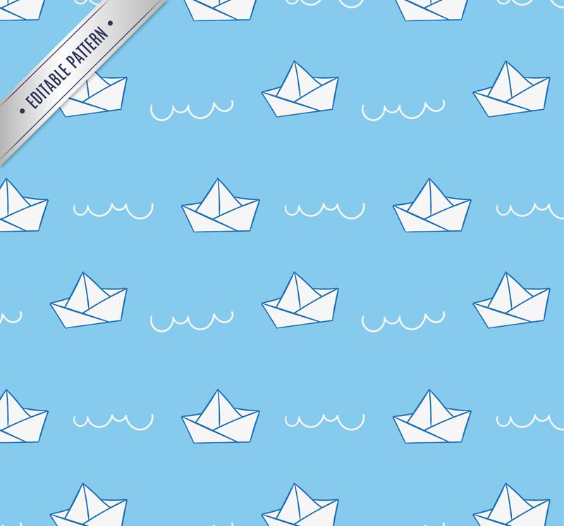 白色折纸船无缝背景矢量图