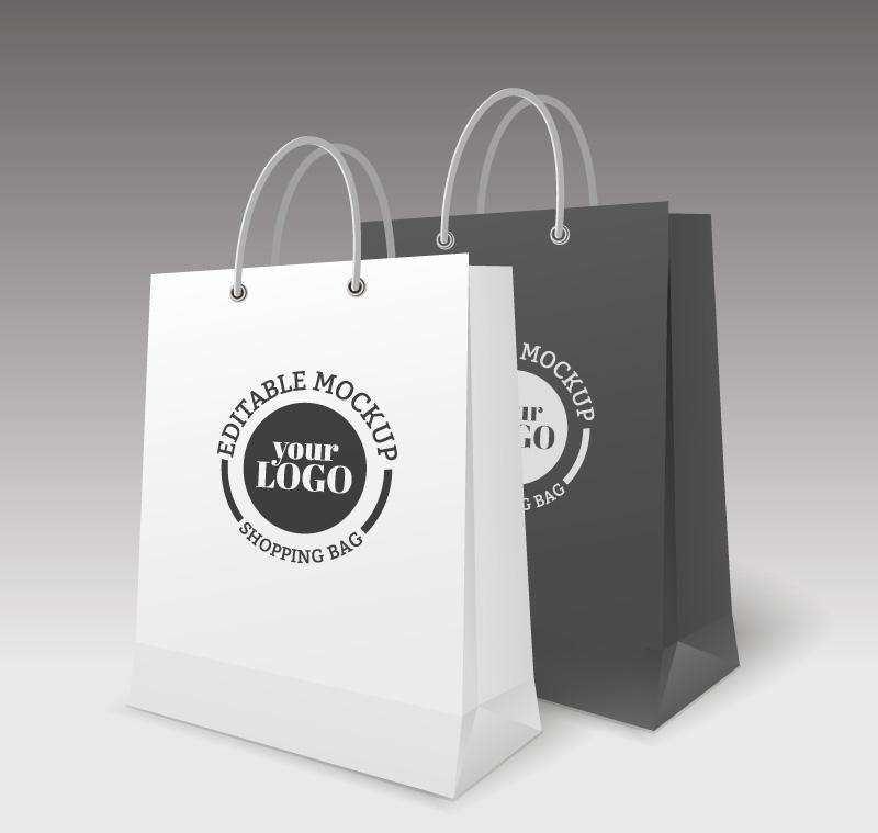 2款创意购物纸袋矢量素材图片