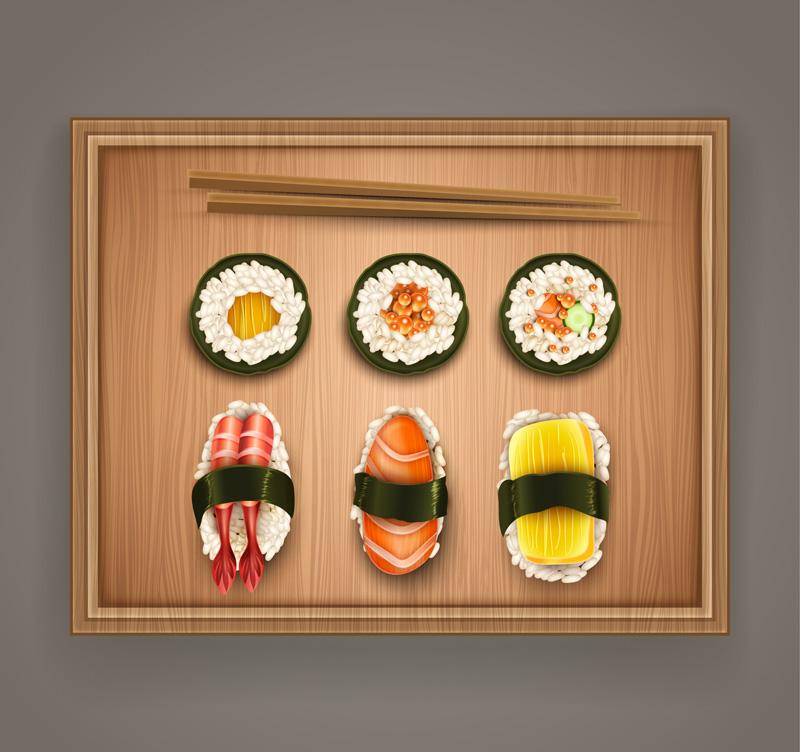 美味日本料理俯视图矢量素材