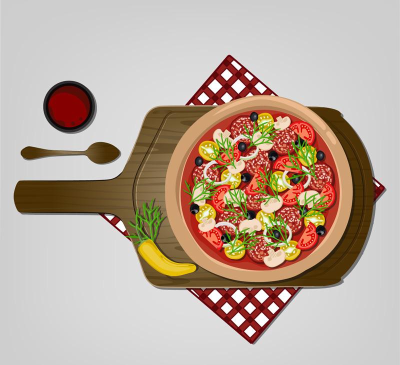 美味披萨俯视图矢量素材