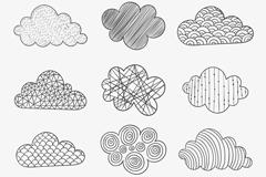 12款手绘花纹云朵矢量图