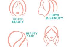 4款女子头像标志矢量素材