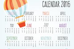 2016彩色热气球年历矢量图
