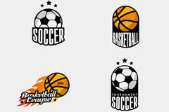 4款创意足球与篮球标志矢量素材