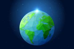 蓝色地球北极之光矢量图