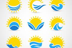 9款太阳与海浪标志矢量图