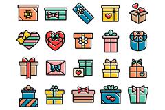 25款创意礼盒图标矢量素材