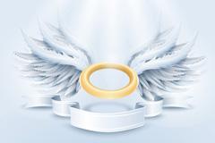银色翅膀和丝带矢量素材