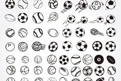 77款手绘球类设计矢量素材