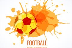 橙色水彩足球和墨迹矢量素材