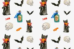 万圣节黑猫无缝背景矢量素材