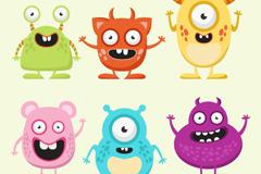 6款卡通大眼怪物矢量素材