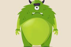 绿色独眼长毛怪物矢量素材