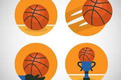 4款创意篮球图标矢量素材