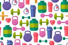 运动健身器材无缝背景矢量图