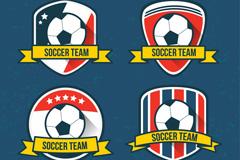4款创意足球队标签矢量素材